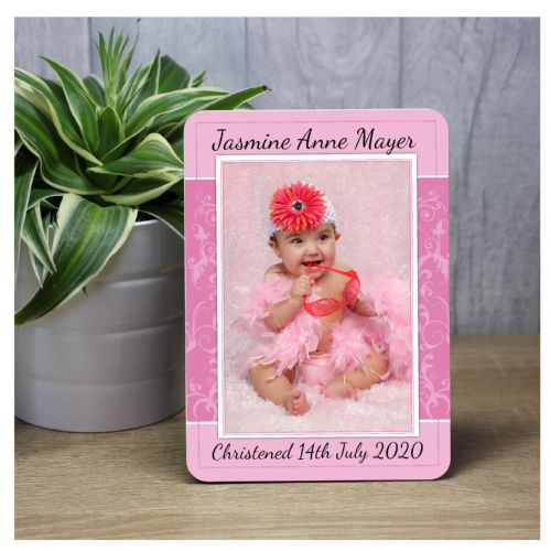 Personalised Girls Christening Baptism Baby Wood Photo Panel Print F42